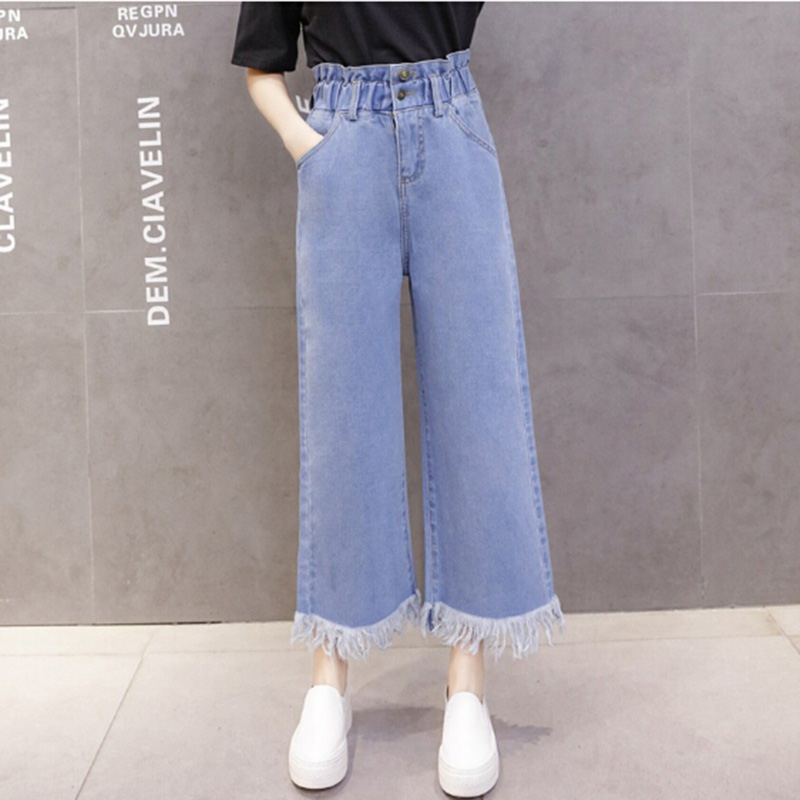 Female Tassel Pants   Jeans   Korean Style Stretch Women Wide Leg Loose Denim Blue   Jeans   Pant Female Long Trousers High Waist Chic