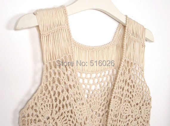 Crochet Fringed Vest Pineapple Lace Tank Top Boho Crochet Fringe