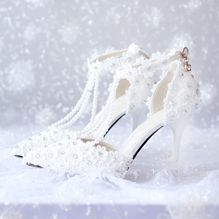Flower lace rhinestone bridal shoes ultra high heels platform formal dress shoes ultra thin heels high