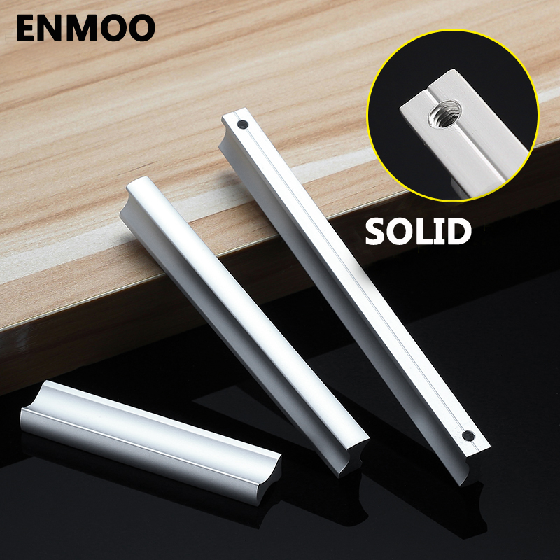 Aluminum Alloy Door Handles for Furniture Cabinet Drawer Knobs Handle White Black Furniture Hardware Hole Center 64mm~224mm furniture drawer handles wardrobe door handle and knobs cabinet kitchen hardware pull gold silver long hole spacing c c 96 224mm
