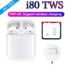 I80 TWS всплывающие 1:1 Размер беспроводные Bluetooth наушники Беспроводная зарядка бас наушники PK LK TE9 i40 i60 i30 i20 i12 i10 TWS