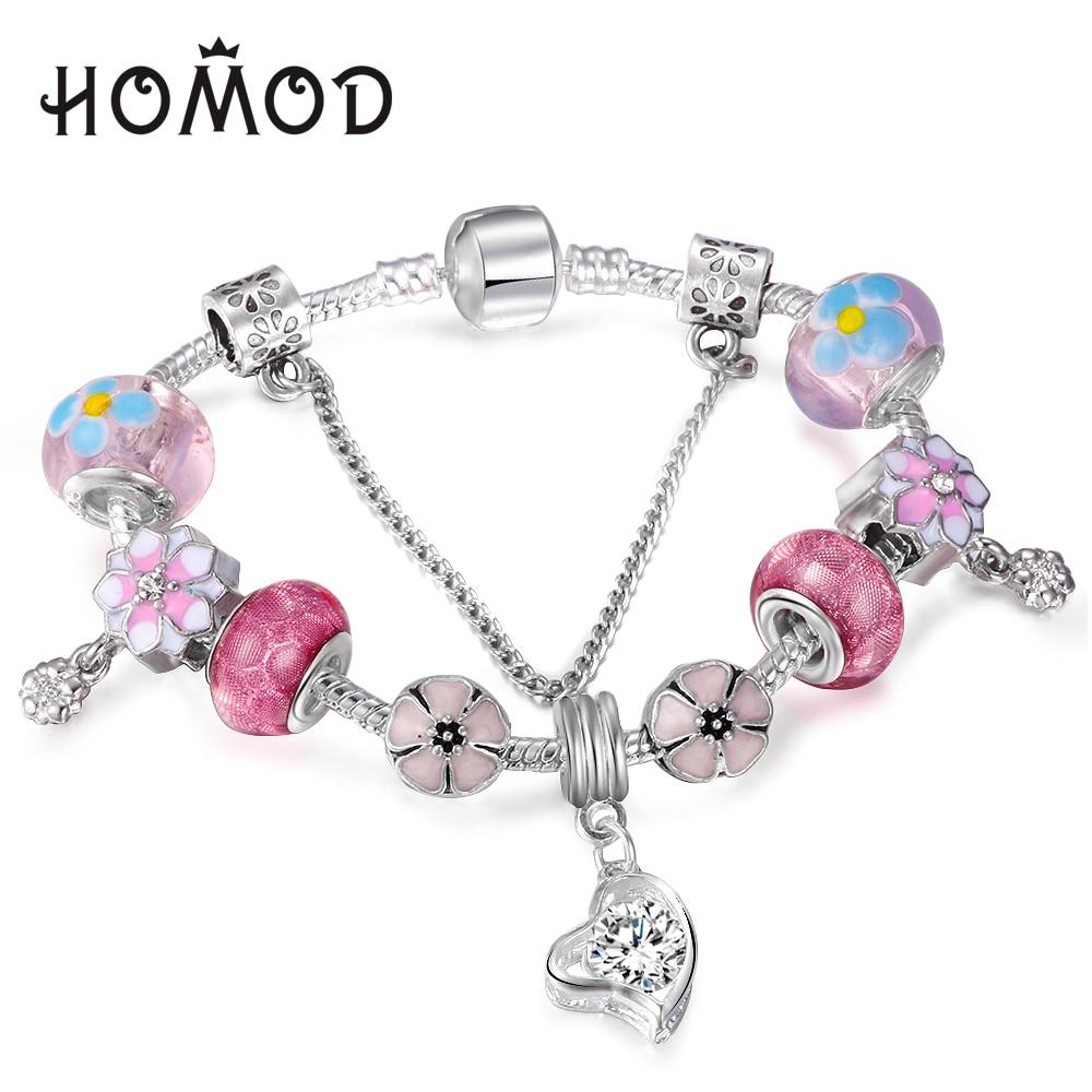 HOMOD Vintage Heart pendant Crystal Murano Glass Bead Charm Bracelet Snake Chain Original Pandora Bracelet Female Jewelry