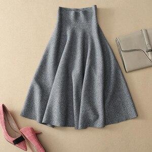 GTGYFF однотонная черная юбка с высокой талией для женщин 2020 модная женская зимняя эластичная трикотажная трапециевидная теплая Женская юбка ...
