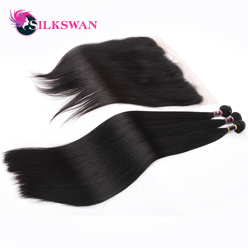 Silkswan Hair Indian Straight Hair 13x4 Lace Frontal With 3 Bundles Remy Human Hair Bundles with