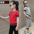 2017 New Summer Girls Children Sports Suit for Boy Girl Cotton Short Sleeved Two Piece Children's Tracksuit Kids Clothes CLS007