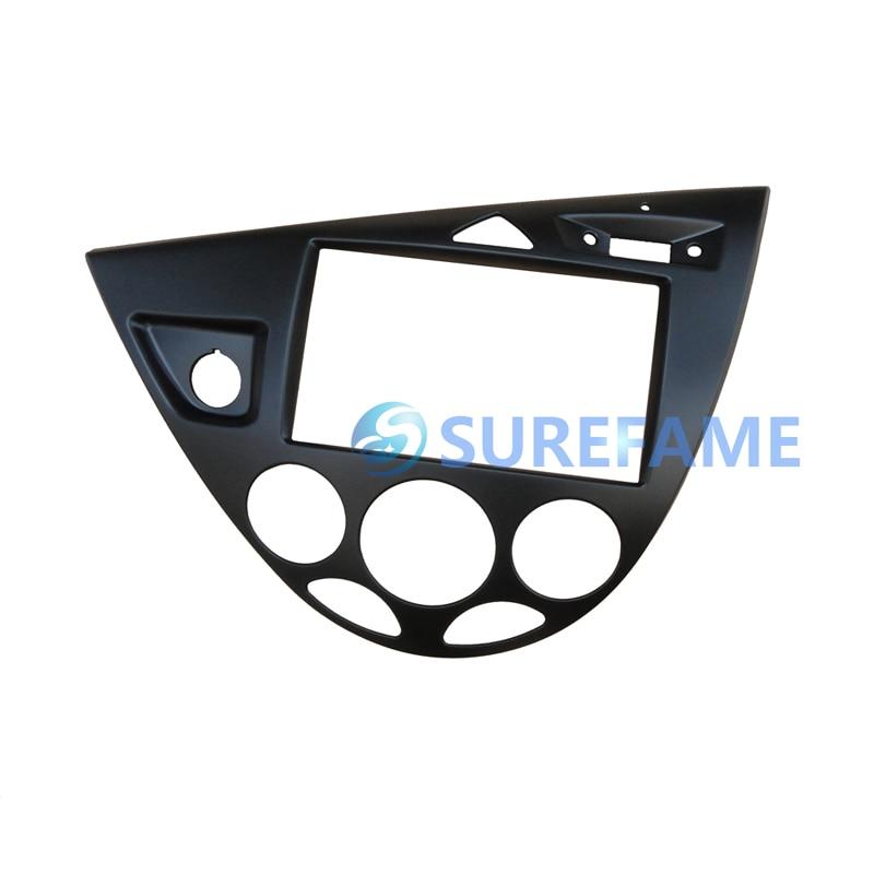Двойная Din Автомобильная магнитола установка объемная панель для Ford для Focus MK1/Fiesta LHD фасции пластина Dash монтажный комплект внутренняя отделка Facia - Название цвета: Black