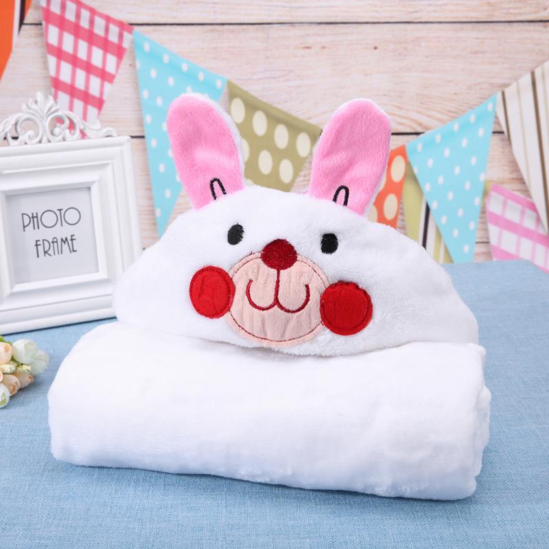 Newborn Baby Cute Soft Fleece Cartoon Animal Shape Warm Hooded Bath Towels Soft Infant Newborn Bath Towel Blanket