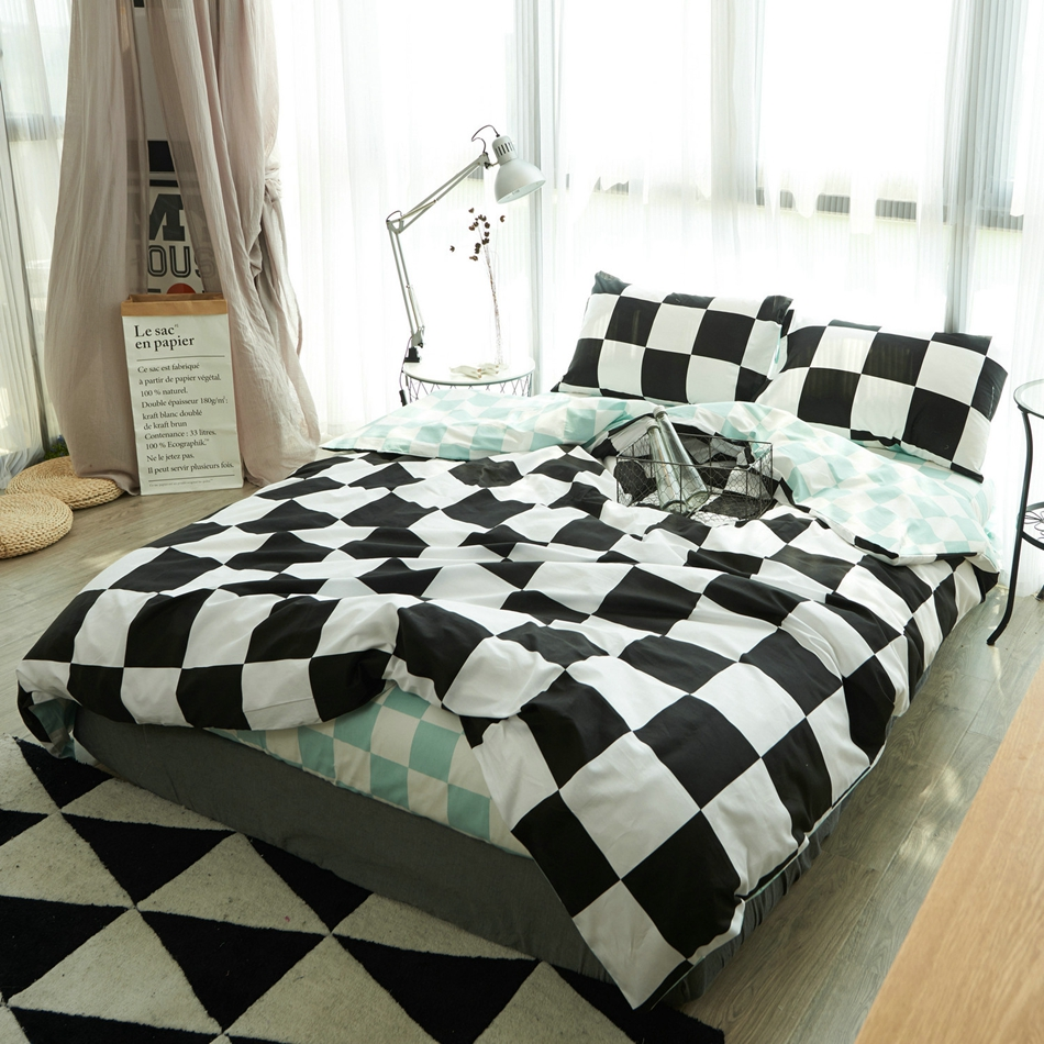 Bed sheet set black and white - Cotton Multi Size Black And White Kids Bedding Set Queen Size Brief Style Bedspread Modern