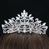 2014 Nowy Wysokiej Jakości Wyczyść Austriacka Rhinestone Crystals Flower Tiara Korony dla Biżuteria Akcesoria Ślubne Dla Nowożeńców SH8569