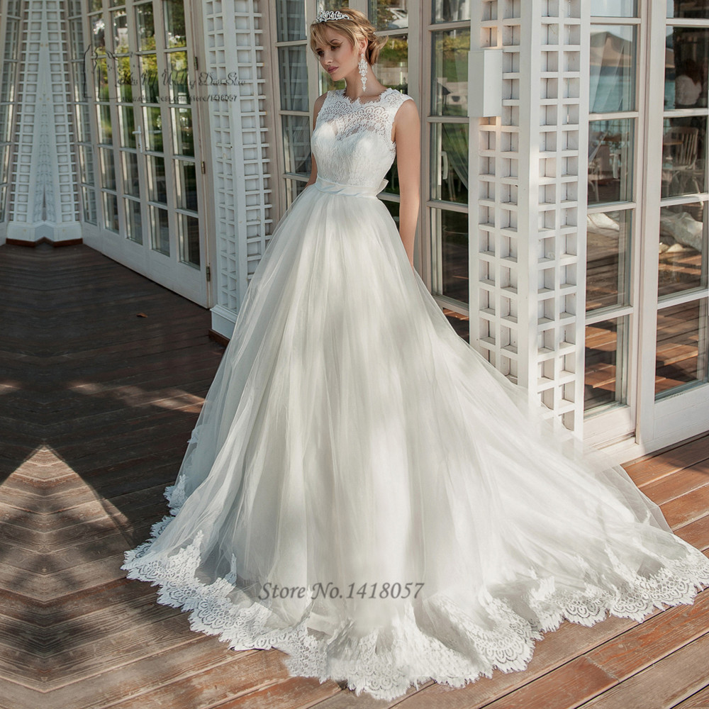 Cheap Wedding Dresses 2017 Lace Wedding Gowns Princess: Princess Civil Wedding Dresses Lace Bride Dress 2017 V