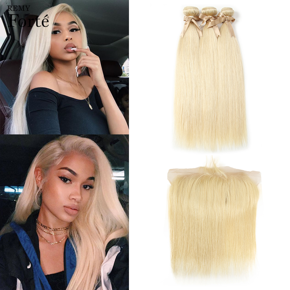 Remy Forte 613 Bundles With Frontal Honey Blonde Bundles With Closure Brazilian Hair Weave Bundles Remy Straight Hair Bundles