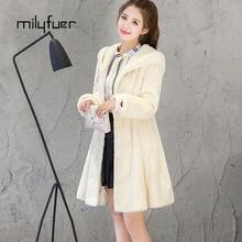 Milyfuer Genuine Rabbit Fur Coat For Women New Fashion Trendy Hooded Long Sleeve Full Pelt Rabbit Winter Keep Warm Fur Coats