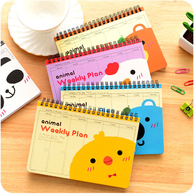 Cute animal Weekly plan Coil spiral Notebook Diary book agenda papelaria caderno escolar stationery office School supplies 5508