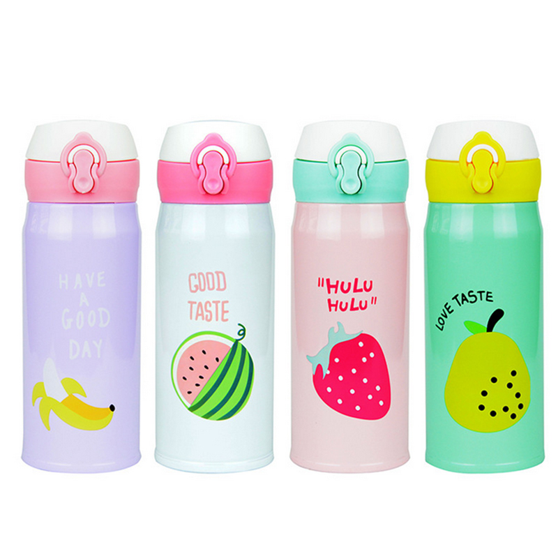 Water Bottle 2017 New Fruit Pattern Thermocup Stainless Steel Thermos Bottle 350ML 500ML Outdoor Vacuum Insulation Water Bottle