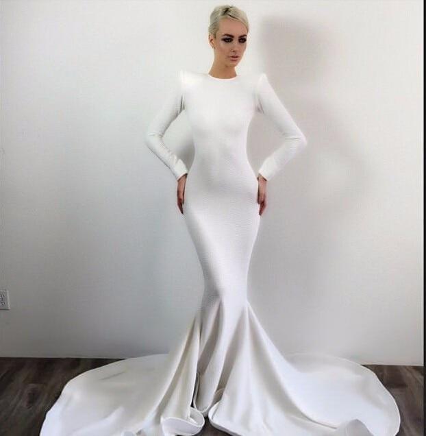 Elegant White Mermaid Evening Dresses With Court Train Long Sleeves ...