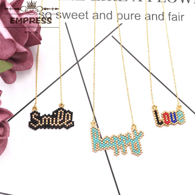 FAIRYWOO New Fashion Sweet Happy Smile Love Letter Girls Boho Necklace Handmade Miyuki Glass Beads Crystal Thin Chain Choker
