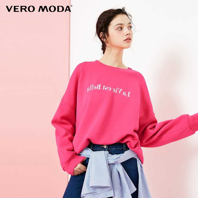 Vero Moda נשים של 2019 תוספות סגנון עגול צוואר זרוק כתף פנאי loose סווטשירט קפוצ 'ון   318433511