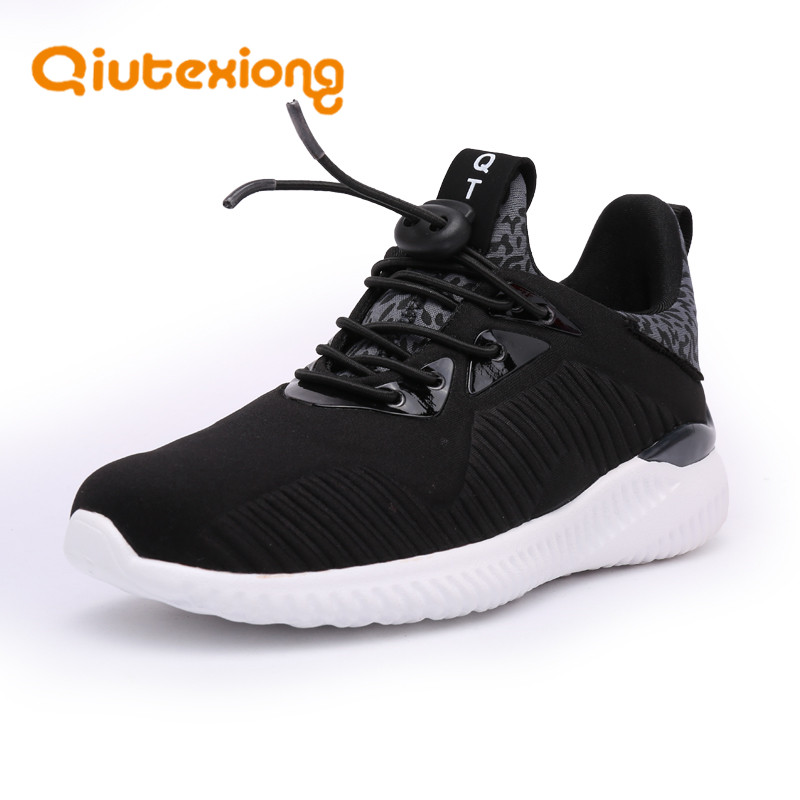 QIUTEXIONG Boys Sport Shoes Children Sneakers Mesh Fly Knit Running Trainer Kids Footwear School Outdoor Rubber Fashion 2018