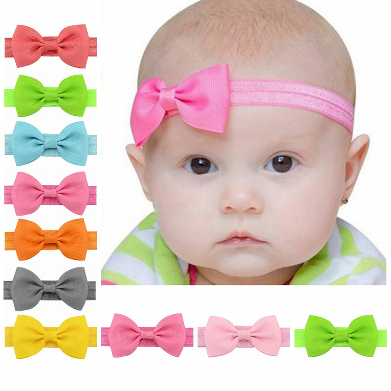 Cute 10Pcs Girls Kids Bowknot Hairband Colorful Mini Elastic Hair Accessories Princess Banda para el cabello