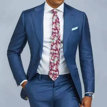 2 pieces Blue Formal Men Suit Slim Fit Single Breast Mens Suits Bespoke Groom Tuxedo Blazer for Wedding Prom Jacket Pants terno
