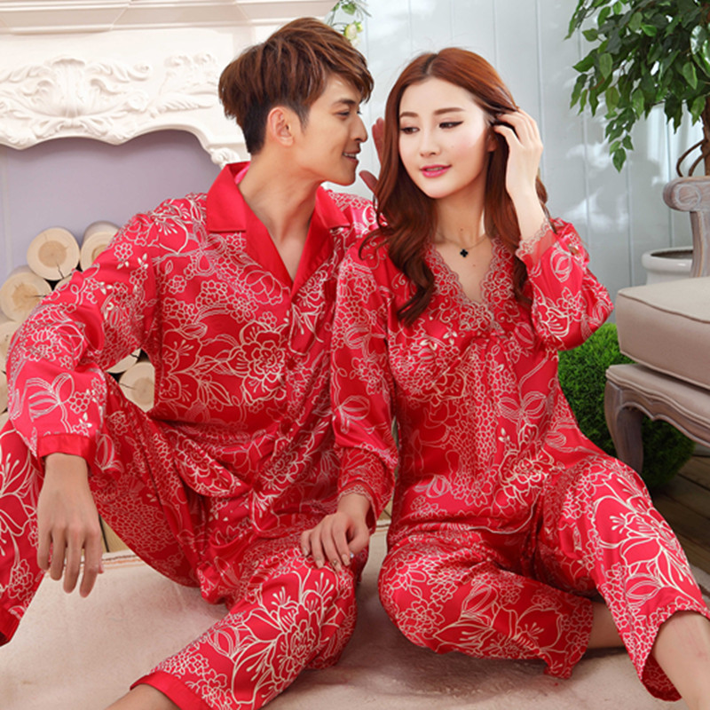 2019 Spring Autumn Couples Silk Satin   Pajama     Sets   for Women Long Sleeve Chinese Red Wedding Sleepwear Suit Homewear Pijama Mujer