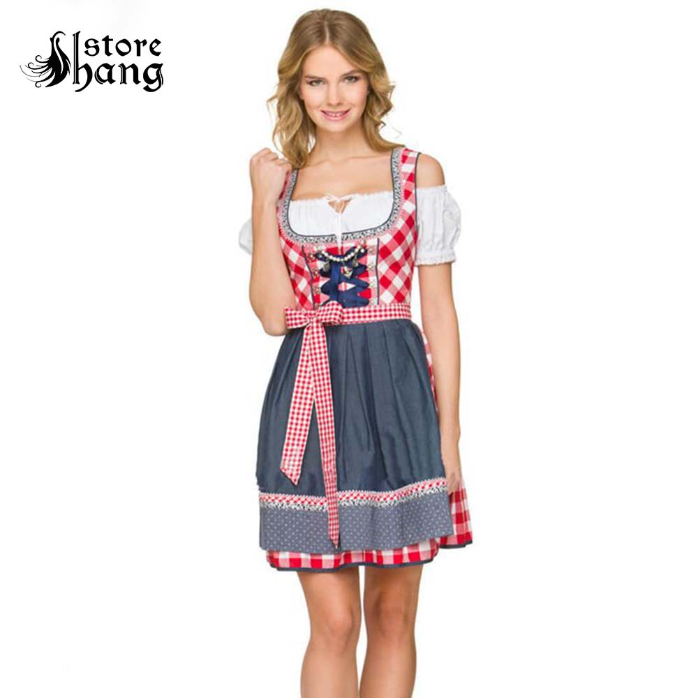 Women Oktoberfest Dirndl Costume Beer Festival Red Plaid Cosplay Bavarian Maid Peasant Dress Halloween Fancy Dress Gift For Girl