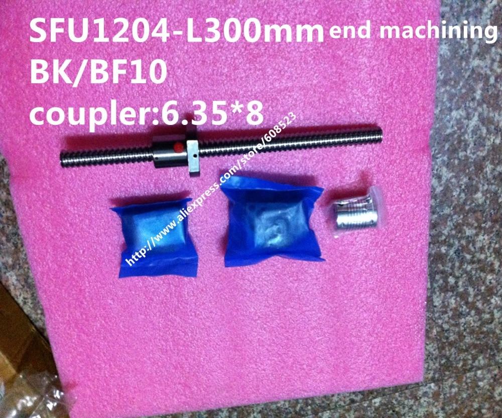 ФОТО RM1204- L300mm Ball screw + SFU1204 Ballnut + BK10 BF10 End Support + 6.35*8 Coupler For CNC Part