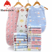 Спальный мешок для новорожденных, 6 слоев марли, чистый хлопок, спальный мешок, мягкий, без рукавов, постельные принадлежности, детский жилет, спальный мешок, одеяло