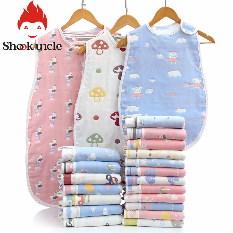 Newborn Baby Sleeping Bag 6 Layers Gauze Pure Cotton Sleep Sack Soft Sleeveless Bedding Children Vest Sleep Bag Anti Kick Quilt