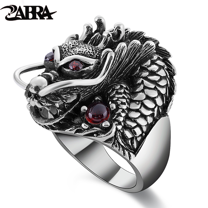 ZABRA 100% Solid 925 Sterling Silver Dragon Red Zircon Eye Domineering Män Ring Vintage Punk Retro Stora Gothic Ring Mänsmycken