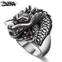 ZABRA 100% Solide 925 Sterling Silber Drachen Rot Zirkon Auge Dominierenden Männer Ring Vintage Punk Retro Big Gothic Ring Männer schmuck