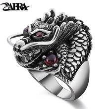 Zabra 100% sólido 925 prata esterlina dragão vermelho zircão olho dominador anel masculino vintage punk retro grande anel gótico