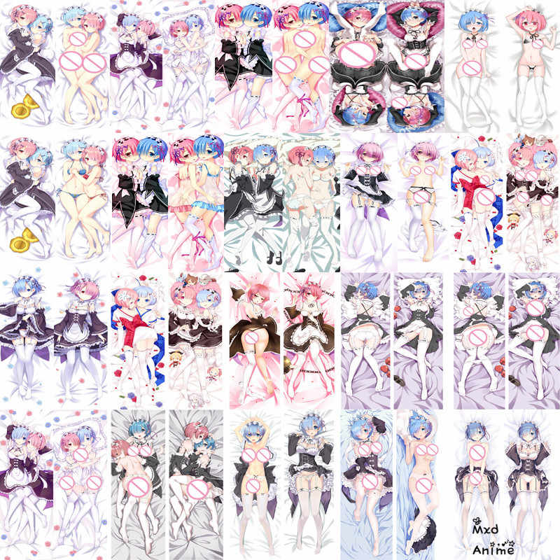 Japanese Anime Re Zero Starting Life in Another World Rem & Ram Sexy Dakimakura pillow cover hugging Body decorative pillowcase