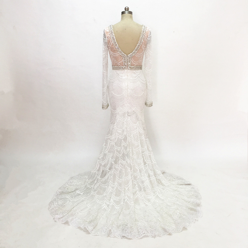 Romantiska Långpärlor Bröllopsklänningar Långärmade Spetsar - Bröllopsklänningar - Foto 5