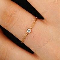 Для женщин SOLID 18 К желтого золота 0.04ct si/ч Полный Cut природных алмазов Обручение Свадебная вечеринка кольцо цепи Ювелирные украшения