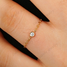 Women Solid 18k Yellow Gold 0.04ct SI/H Full Cut Natural Diamond Engagement Wedding Party Ring Chain Fine Jewelry
