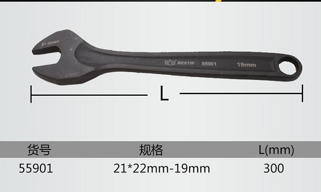 BESTIR taiwan origin new arrival black 21*22mm-19mm length:300mm black scaffold wrench hand engine tools NO.55901