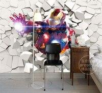 3D Iron Man Wallpaper Marvel Heroes Photo Wallpaper Custom Wall Murals Boys Kid Bedroom Art Room