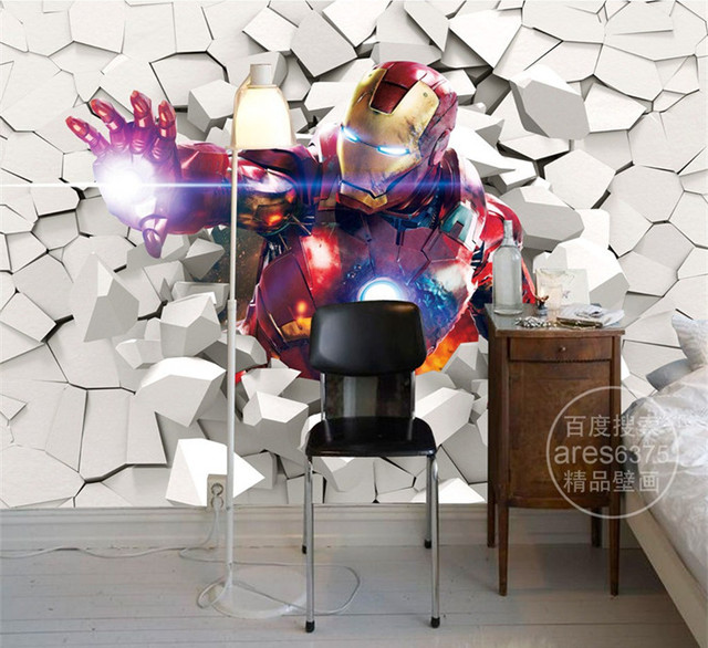 3d iron man papier peint marvel h ros photo papier peint personnalis peintures murales gar ons. Black Bedroom Furniture Sets. Home Design Ideas