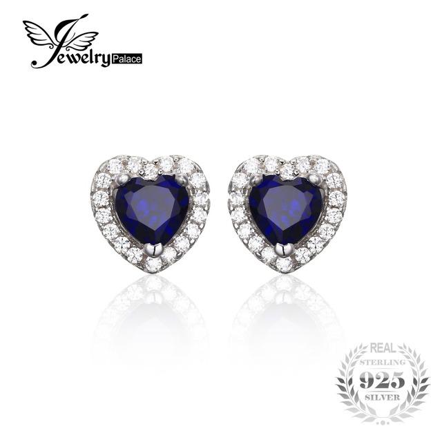 Jewelrypalace corazón del océano 1.2ct creado azul zafiro 925 pendientes de plata esterlina joyería fina para las mujeres