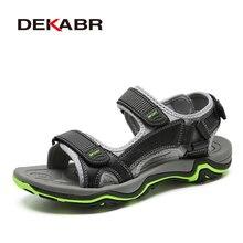 Мужские летние нескользящие сандалии DEKABR, темно серая мягкая удобная обувь из натуральной кожи, модная повседневная обувь, размеры 39 45, 2019