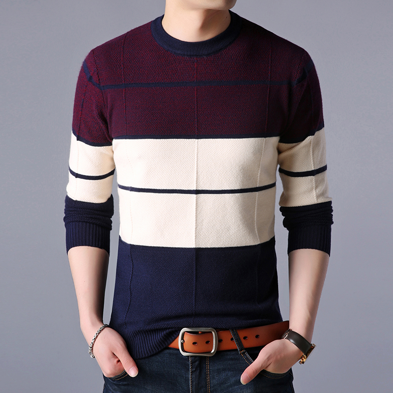 2019 Fashion Brand Sweater Men Pullover O-Neck Slim Fit Jumpers Knitwear Woolen Striped Winter Korean Style Casual Men Clothes