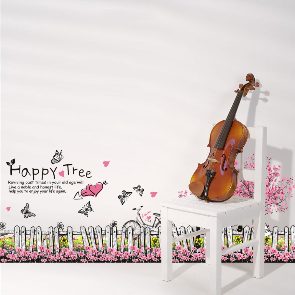 Hippy Tree Baseboard Wall Sticker Butterfly Wall Decals Blooming Flowers Home Decor For Kids Rooms Glass Window Decoration