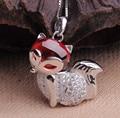 925 colar de prata granada vermelho fox pingente de colar com cadeia de caixa