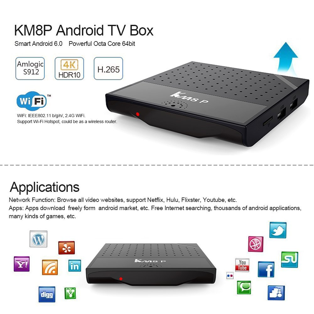 Android 7.1 Nougat Mecool KM8 P Smart TV Box 2GB 16GB Amlogic S912 Octa Core H.265 4K WiFi HD1M IPTV KM8P Media Player 10PCS