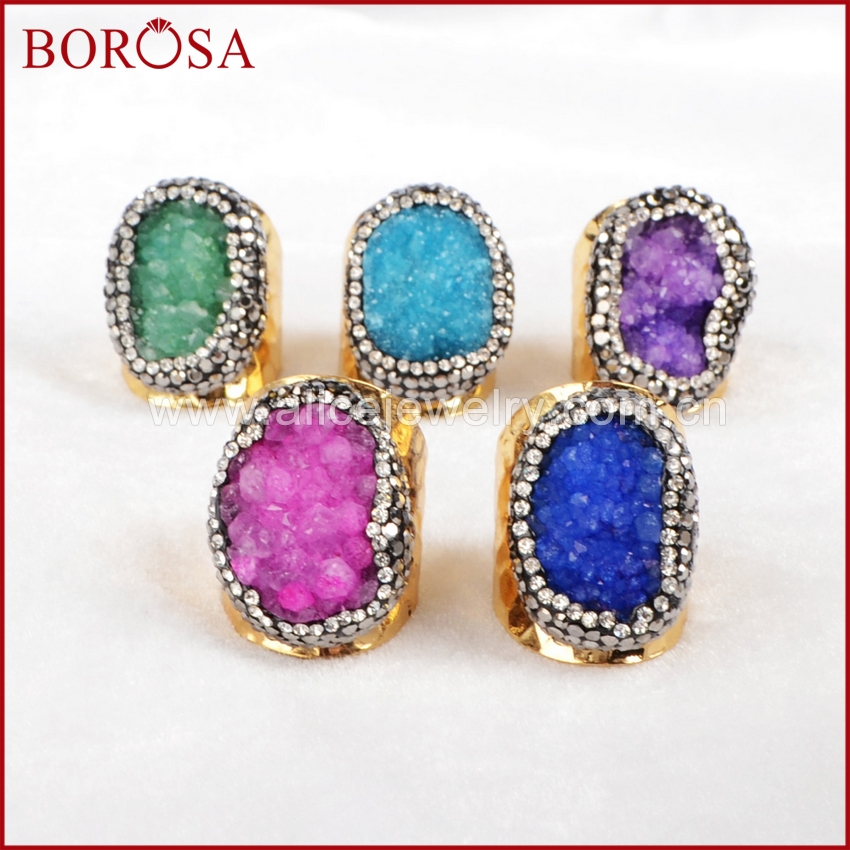 BOROSA Exclusive Party Rings Crystal Geode Druzy With Zircon Pave Rings Vintage Gold Color Rings JAB149