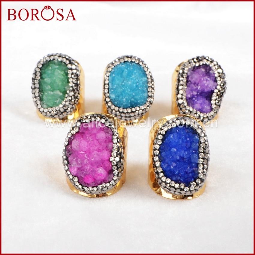 BOROSA Exklusive Party Ringe Kristall Geode Druzy Mit Zirkon Pflastern Ringe Vintage Gold Farbe Ringe JAB149-in Ringe aus Schmuck und Accessoires bei  Gruppe 1