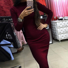 High Quality 2018 Knitted Warm Dresses Long Sleeves Maxi Tunic Slim OL Casual Bandage Robe Fall Female Clothing WS2462K