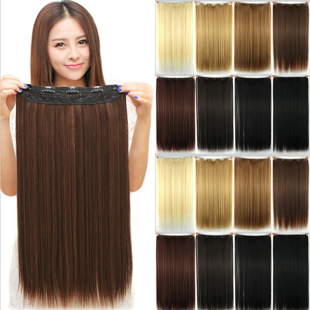23inch 58 CM 145g Women Synthetic 3/4 Full Head Clip In Hair Extensions Straight Hairpiece Halloweek Hair
