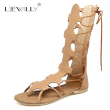 Lsewilly Woman Flats Gladiator Sandals Back Zipper Lace Up Summer Shoes Ladies Casual Sandals Mid-calf Boots Size 34-52 S290 new arrivals women shoes fashion gladiator casual lace up sandals soft leather cross tied summer flats sandal boots size 34 47